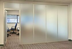 Cgp Office Partitions Frosted Glass Aluminum Wall 13and039x9and039 W/door Clear Anodized