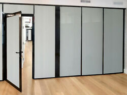 Cgp Office Partitions, Frosted Glass Aluminum Wall 10'x9' W/door, Black Color