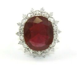 Natural Oval Red Ruby And Diamond Halo Solitaire Ring 14k White Gold 11.20ct