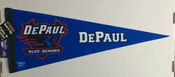 Depaul University 12x30 Premium Felt Pennant By Wincraft, Blue, Red And White Ncaa