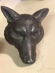 Rare Early Antique Cast Iron Fox/coyote/wolf Head Beer Fountain Water Tap