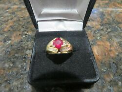18 K Solid Gold Ring 3/4 Ct Red Natural Ruby And 1/2 Cts Natural Diamonds 4.1 Gr
