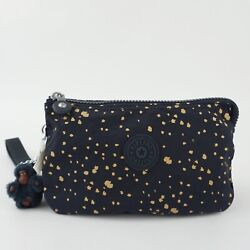 KIPLING CREATIVITY XL Pouch Clutch Wristlet Golden Night Blue $28.95