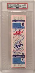 Ron Cey P Guerrero Steve Yeager Signed Full 1981 World Series Ticket Ws Mvp Psa