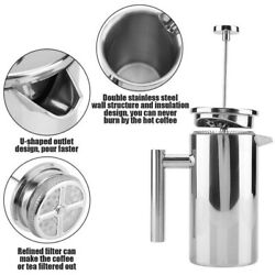 Stainless Steel French Press Coffee Maker 12/27oz Double Wall Insulated Espresso