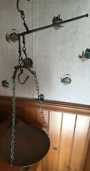 Antique Copper Brass Hanging Balance Scales 1 Copper Pan 1 Brass Arm