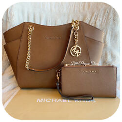 NWT MICHAEL KORS LEATHER JET SET TRAVEL CHAIN SHOULDER BAG + WALLET IN LUGGAGE