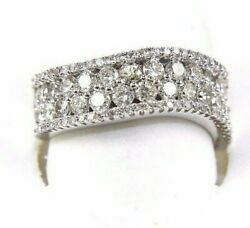 Natural Round Diamond Curve 2 Row Cluster Ring Band 14k White Gold 1.58ct