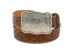 Ariat Menand039s Brown Floral Embossed Leather Belt With Antique Silver Buckle
