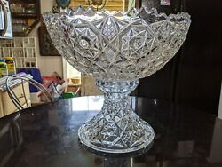 Massive Antique 20+ Cup Pressed Glass Punch Bowl On Base