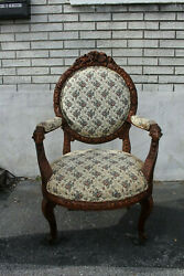 19th Century French Heavily Carved Side Accent Armchair