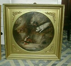 Large 19th Century English Terrier Dogs FOX HARE Antique George ARMFIELD GILT FR