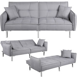 Convertible Sleeper Sofa Bed Sectional Futon Couch Daybed Pull Out Bed Gray