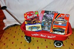 Vintage Little Red Racer Wagon Small Toy Version + 3 Hot Wheels Richard Petty