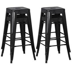 Set Of 4 Metal Bar Stools Counter Industrial Farmhouse Stackable Chairs 30