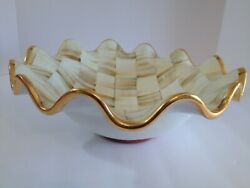Mackenzie-childs Parchment Check Bowl Large Serving 14 Fluted Edges Retired New