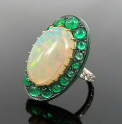 Vintage 7.0ct Natural Opal 2.50ct Emerald 0.60ct Diamond Silver And Gold Ring