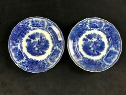 Two Burgess And Leigh Nonpareil Middleport Pottery Flow Blue Side Dish Plates