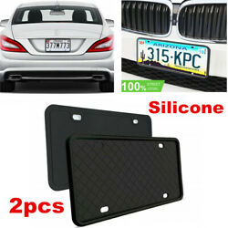 2 X Us Universal Black Car License Plate Frame Bracket Front And Rear W/screws