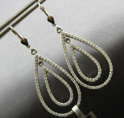 Large 1.60ct Diamond 14kt White Gold Double Tear Drop Leverback Hanging Earrings