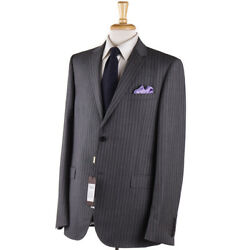 Nwt 2300 Gray Woven Stripe Wool-mohair Suit Slim-fit 42 R Eu 52
