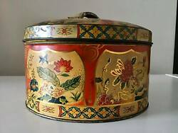 Vintage Biscuit Round Metal Tin Red And Gold W/ Flowers 1950s