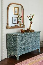 Handmade Mother Of Pearl Inlay Blue Chest Of Drawer Dresser