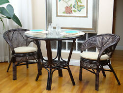 Pelangi Rattan Wicker Set Of 2 Chairs And Dinning Round Table