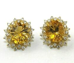 Natural Oval Citrine And Diamond Halo Stud Ladyand039s Earrings 14k Yellow Gold 9.06ct