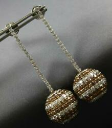 EXTRA LARGE 14.05CT WHITE & MOCHA DIAMOND 14KT WHITE GOLD HANGING BALL EARRINGS