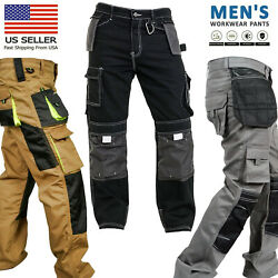Mens Work Worker Safety Cordura Trousers Kneepad Cargo Pockets Working Pants