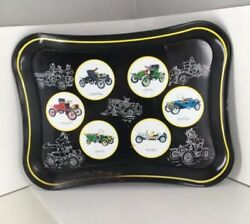 Vintage Masonware Drink Serving Tray With Antique Cars Runabouts Roadster T4