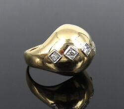 Vintage Seaman Schepps 0.22ct Diamond And 14k Yellow Gold Dome Ring