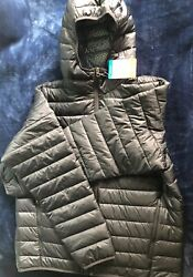 Columbia Men's Puffer Thermal Coil Jacket With Hood Large Black NEW WITH TAGS