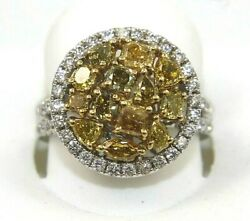 Natural Canary Yellow Diamond Cluster Circle Mix Cut Ring 14k White Gold 2.46ct