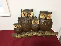 Vintage 1977 Burwood Products Company Plastic Wall Plaque Owl Family 2069