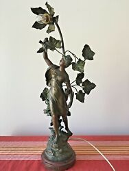 Antique Gorgeous French Metal Figurine Lamp Signed Math.moreau