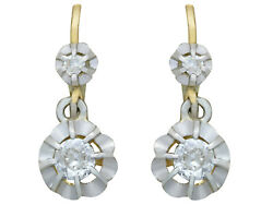 Antique French 1930s 0.41 Ct Diamond And 18k Yellow Gold Drop Earrings