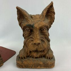 Vintage Pair Of Scottie Terrier Ornawood Syroco Book Ends