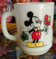 Fire King Vintage Mickey Mouse And Minnie Mug Super Rare Disney Bouquet