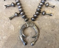 1930's Dime Beads Silver Squash Blossom Necklace Hand Forged With Ingot Naja