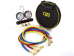 Cps Mt2h7p5 2 Valve Manifold R-134a 404a 410a Gauges And 5and039 Premium Hoses