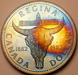 1982 Canada 1 One Silver Dollar Proof Monster Rainbow Blue Toned Unc Color Dr