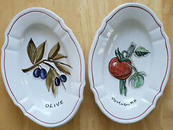 Fratelli Mari Deruta Pottery Olive And Tomato Fluted Bowls Hand Painted Signed And03998