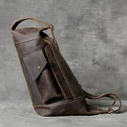Men Single Shoulder Bag Genuine Leather Cross Bags Handmade Cowhide Man Retro $122.54