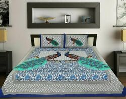 Peacock Printed Quilt Cover Indian King Size Duvet Doona Cover Boho Bedding Set