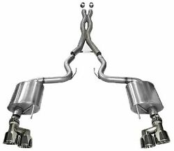 Corsa Sport Cat-back Exhaust W/ Quad Tips For 2015-2017 Mustang Gt 5.0l Coupe