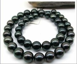 Tahitian Black Pearl Necklace Genuine Huge 1814mm Natural Round Perfect 8088