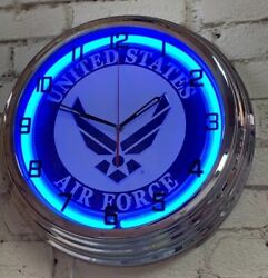 Air Force United States Military Blue Neon Wall Clock Car Truck Automotive Sign