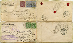 Burma Qv 1896 Katha To Liverpool Signed Envelope Flaps 5a Frankings 2 Covers